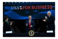 President Donald Trump, center, arrives to speak during a roundtable discussion at Nuss Truck and Equipment in Burnsville, Minn., Monday, April 15, 2019, during an event to tout the 2017 tax law. He is flanked by Jovita Carranza, left, current treasurer at the Department of the Treasury, and Nuss Truck …