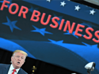 President Donald Trump speaks at Nuss Truck and Equipment in Burnsville, Minn., Monday, April 15, 2019. (AP Photo/Susan Walsh)