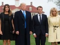 US President Donald Trump and First Lady Melania Trump, and French President Emmanuel Macron and his wife, Brigitte Macron, pose at Mount Vernon, the estate of the first US President George Washington, in Mount Vernon, Virginia, April 23, 2018. (Photo by SAUL LOEB / AFP) (Photo credit should read SAUL …