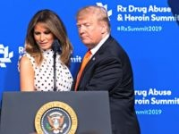 President Donald Trump and first lady Melania Trump arrive to speak during the RX Drug Abuse & Heroin Summit, Wednesday, April 24, 2019 in Atlanta. (AP Photo/John Amis)