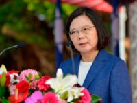 Taiwan's President Tsai Ing-wen speaks to assembled guests during a ceremony to commission two Perry-class guided missile frigates from the US into the Taiwan Navy, in the southern port of Kaohsiung on November 8, 2018. - President Tsai Ing-wen vowed on November 8 that Taiwan would not 'concede one step' …