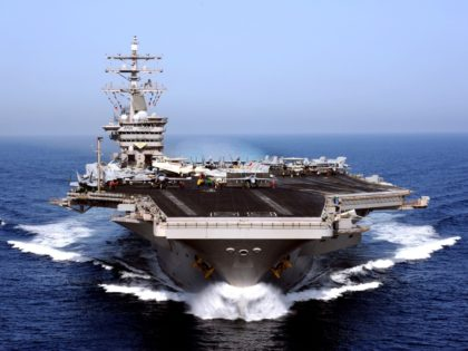 ARABIAN SEA - APRIL 26: In this handout from the U.S. Navy, the aircraft carrier USS Dwight D. Eisenhower operates April 26, 2009 (Photo by Rafael Figueroa Medina/U.S. Navy via Getty Images)
