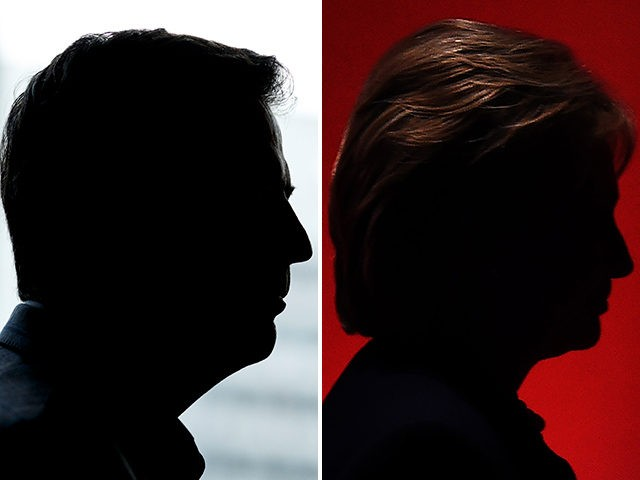 Former FBI Director James Comey (L) and Hillary Clinton (R).