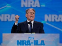National Rifle Association Executive Vice President Wayne LaPierre speaks at the National Rifle Association Institute for Legislative Action Leadership Forum in Lucas Oil Stadium in Indianapolis, Friday, April 26, 2019. (AP Photo/Michael Conroy)