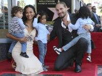 Zoe Saldana, second left, her husband Marco Perego, second right and their children, in no particular order, Bowie Ezio Perego-Saldana, Cy Aridio Perego-Saldana and Zen Perego-Saldana, pose at the ceremony honoring Zoe Saldana with a star at the Hollywood Walk of Fame on Thursday, May 3, 2018, in Los Angeles. …