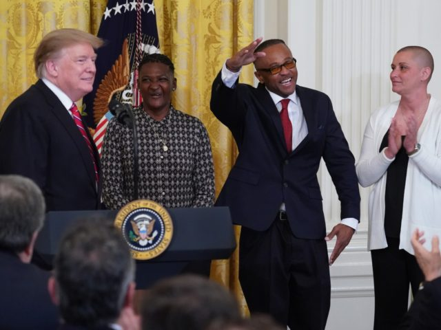 Gregory Allen, who served more than eight years in prison, thanks U.S. President Donald Trump during a First Step Act celebration in the East Room April 01, 2019 in Washington, DC. The First Step Act passed Congress with bipartisan support in December 2018, prompting the release of more than 500 …