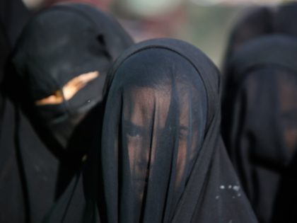 An Iraqi Shiite girl, whose face is covered with a veil, takes part in a parade in preparation for the peak of the mourning period of Ashura in Baghdad's northern district of Kadhimiya on November 1, 2014. Ashura mourns the death of Imam Hussein, a grandson of the Prophet Mohammed, …