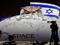 Journalists prepare to attend a press conference by Israeli Aerospace Industries space division to announce the launch of an spacecraft to the moon at the end of 2018 in Yehud, Eastern Tel Aviv, on July 10, 2018. - An Israeli organisation announced plans Tuesday to launch the country's first spacecraft …