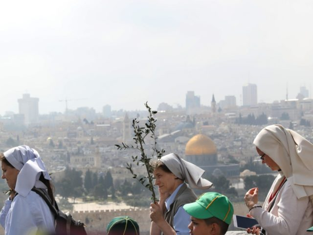 Nuns take part in the traditional Palm Sunday procession from the Mount of Olives to Jerusalem's Old City on April 14, 2019. - The ceremony is a landmark in the Christian calendar, marking the triumphant return of Christ to Jerusalem the week before his death, when a cheering crowd greeted …