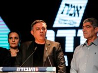 Avi Gabbay (C), chairman of Israel's Labour Party, speaks at his party's headquarters in the coastal city of Tel Aviv on election night on April 9, 2019, with Labour politician Amir Peretz (L) standing alongside him. (Photo by JALAA MAREY / AFP) (Photo credit should read JALAA MAREY/AFP/Getty Images)