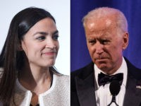 Alexandria Ocasio-Cortez (L) and Joe Biden (R).