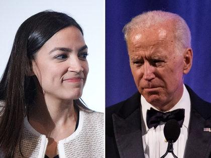 Alexandria Ocasio-Cortez (L) and Joe Biden (R).
