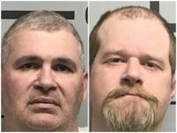 Charles Ferris, left, and Christopher Hicks, right, were arrested for aggravated assault after they took turns shooting each other while wearing a bulletproof vest on March 31, 2019, Benton County Sheriff's Office said. Benton County Sheriff's Office