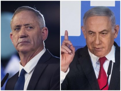 This combination of pictures created on April 02, 2019 shows (L) Prime Minister Benjamin Netanyahu speaking to journalists in Jerusalem on February 3, 2019 and former IDF chief of staff Benny Gantz delivering his first electoral speech in Tel Aviv on January 29, 2019