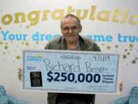Richard Beare collects his big prize. North Carolina Education Lottery