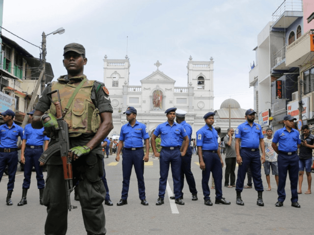 Sri Lankan Army soldiers secure the area around St. Anthony's Shrine after a blast in Colombo, Sri Lanka, Sunday, April 21, 2019. Eranga Jayawardena/AP