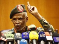 Lieutenant General Omar Zain al-Abdin, the head of the new Sudanese military council's political committee, addresses a press conference on April 12, 2019 in the capital Khartoum, one day after Sudan's army ousted the Arab-African country's veteran president Omar al-Bashir. - Sudan's military council pledgeed talks with 'all political entities' …