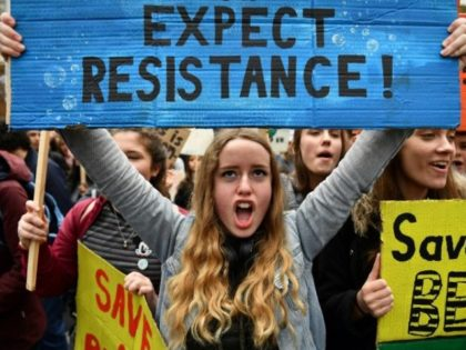 Students attend the YouthStrike4Climate demonstration against climate change in Parliament Square, central London on April 12, 2019
