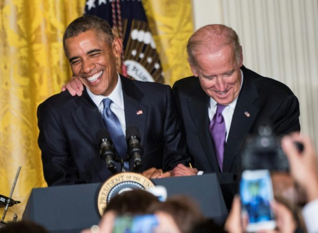 Former US vice president Joe Biden (right) and his old boss Barack Obama bonded over eight years in the White House and remain close