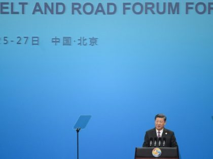 Chinese President Xi Jinping speaks during the opening ceremony of the Belt and Road Forum in Beijing