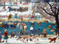 """Child and Sports–Winter,"" a WPA mural removed from a cafeteria at Percy Julian Middle School in Oak Park, Illinois. (Barbara Bernstein, www.NewDealArtRegistry.org)"