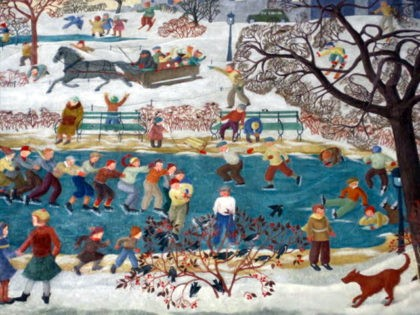 """""""Child and Sports–Winter,"""" a WPA mural removed from a cafeteria at Percy Julian Middle School in Oak Park, Illinois. (Barbara Bernstein, www.NewDealArtRegistry.org)"""