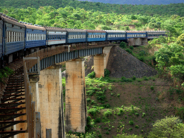 TAZARA Railway crossing a bridge near the Zambian-Zimbabwean border.