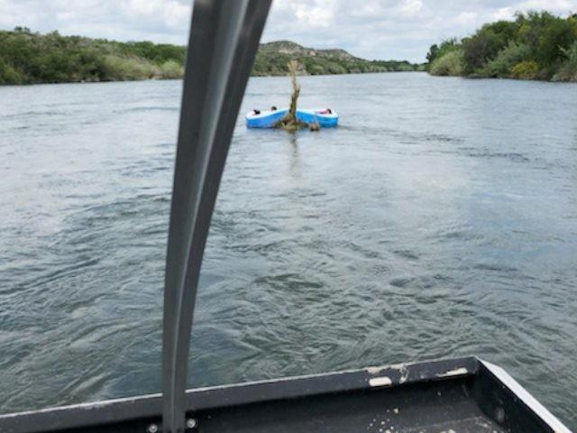Del Rio Station Border Patrol marine agents find a small migrant family trapped in a makeshift raft in the middle of the Rio Grande. (Photo: U.S. Border Patrol/Del Rio Sector)