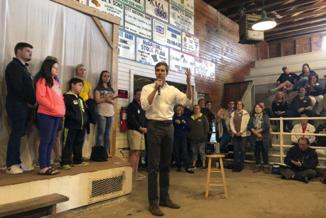 In this May 5, 2019, file photo, Democratic presidential candidate Beto O'Rourke addresses a town hall in Shenandoah, Iowa. O'Rourke entered the 2020 presidential race in mid-March as a political phenomenon, addressing overflow crowds around the country in off-the-cuff ways. Now, with that buzz cooling, O'Rourke is preparing a planned …