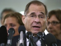 House Judiciary Committee ranking member Jerry Nadler, D-N.Y., talks to media during a Senate Judiciary Committee hearing on Capitol Hill in Washington, Friday, Sept. 28, 2018. After a flurry of last-minute negotiations, the Senate Judiciary Committee advanced Brett Kavanaugh's nomination for the Supreme Court after agreeing to a late call …