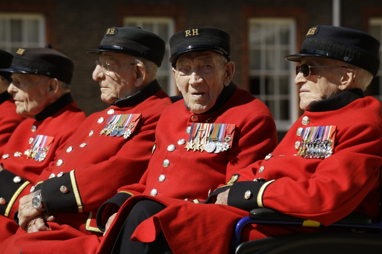 British Chelsea Pensioners who are veterans of the World War II Battle of Normandy, codenamed Operation Overlord, and D-Day pose for a group photograph during a D-Day 75th anniversary photocall at the Royal Hospital Chelsea in London, Monday, May 13, 2019. The 75th anniversary of D-Day is on 6 June, pictured are from left: Ernie Boyden, Frank Mouque, George Skipper and Arthur Ellis. D-Day saw some 156,000 U.S., British and Canadian forces landing on five beaches along a 50 mile (80 kilometer) stretch of France's coast, supported by thousands of ships, landing vessels, planes and gliders, and with inland help from French resistance fighters. (AP Photo/Matt Dunham)