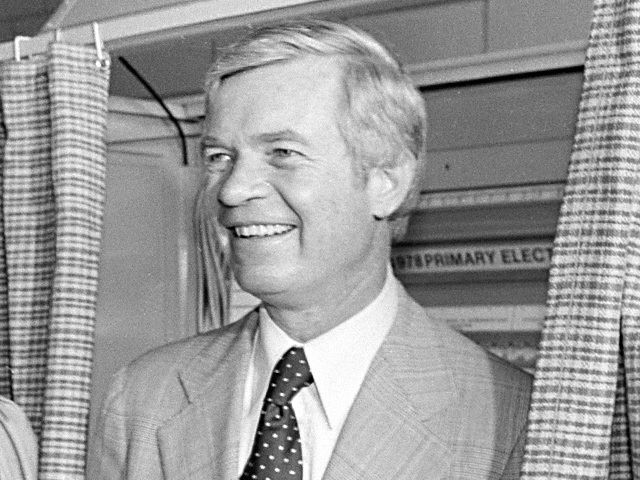 Rep. Thad Cochran (R-Miss.) smiles with his wife Rose after having a problems pulling the lever on the voting machine to cast his vote and open the curtain in Jackson, Miss., June 6, 1978. Cochran is seeking the Republican nomination in the race for the U.S. Senate being vacated by …