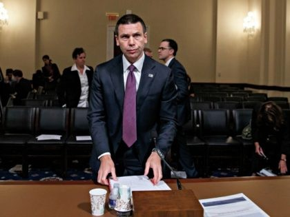 Acting Secretary of Homeland Security Kevin McAleenan on Capitol Hill in Washington, Wednesday, May 22, 2019, prepares to leave after the House Homeland Security Committee on budget. (AP Photo/Carolyn Kaster)