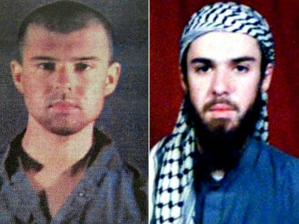 """(COMBO) This combination of pictures created on April 17, 2019 shows at left a police file photo made available February 6, 2002 of the """"American Taliban"""" John Walker Lindh and at right a February 11, 2002 photograph of him as seen from the records of the Arabia Hassani Kalan Surani …"""