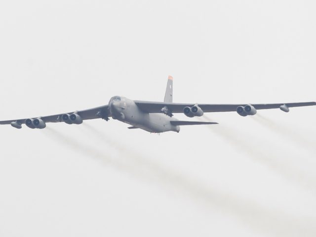 PYEONGTAEK, SOUTH KOREA - JANUARY 10: A U.S. Air Force B-52 bomber flies over Osan Air Base on January 10, 2016 in Pyeongtaek, South Korea. South Korea and the United States have deployed the B-52 Stratofortress, a long-range strategic bomber over the Korean Peninsula three days after North Korea said …