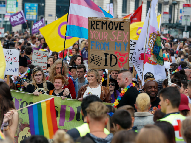 People gather for the 24th edition of the 'Belgian Pride', a manifestation of lesbian, gay, bisexual and transgender oriented people, Saturday 18 May 2019 in Brussels. BELGA PHOTO NICOLAS MAETERLINCK (Photo credit should read NICOLAS MAETERLINCK/AFP/Getty Images)