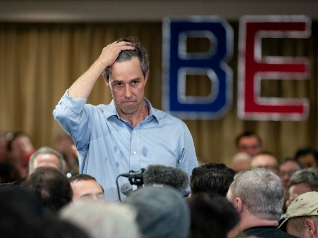 Former U.S. Representative and 2020 Democratic presidential hopeful Beto O'Rourke listens to a question during a town hall event, April 17, 2019 in Alexandria, Virginia. O'Rourke took numerous questions from the audience on a wide variety of topics. (Photo by Drew Angerer/Getty Images)