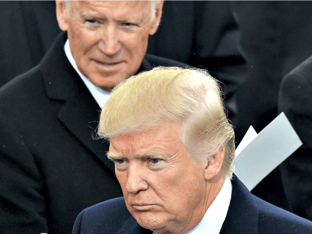 Joe Biden and President Donald Trump are pictured at Trump's inauguration. | Paul J. Richards/AFP/Getty Images