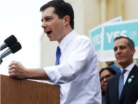 LOS ANGELES, CALIFORNIA - MAY 09: Democratic presidential candidate and South Bend, Indiana Mayor Pete Buttigieg speaks at a community event with labor unions on May 9, 2019 in Los Angeles, California. Los Angeles Mayor Eric Garcetti joined Buttigieg at the event. Buttigieg will reportedly attend a fundraiser at actress …