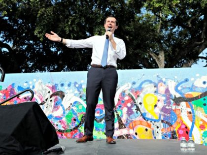 Democratic presidential candidate Pete Buttigieg, the mayor of South Bend, Ind., speaks during a fundraiser at the Wynwood Walls, Monday, May 20, 2019, in Miami. (AP Photo/Lynne Sladky)