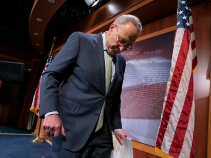 Senate Minority Leader Chuck Schumer, D-N.Y., finishes meeting with reporters just after the Senate passed a $19 billion disaster aid bill to help a number of states and Puerto Rico recover after a series of hurricanes, floods and wildfires, at the Capitol in Washington, Thursday, May 23, 2019. Republican leaders …