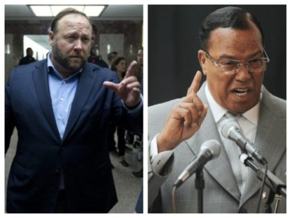 Collage of Alex Jones and Louis Farrakhan