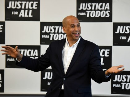 "U.S. Sen. Cory Booker (D-NJ) speaks during a meet-and-greet with Young Democrats of UNLV as part of his ""Justice For All"" tour at UNLV on April 18, 2019 in Las Vegas, Nevada. Booker is campaigning for the 2020 Democratic nomination for president. (Photo by Ethan Miller/Getty Images)"