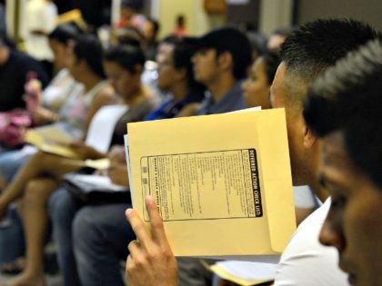People at the Coalition for Humane Immigrant Rights of Los Angeles attend an August 2012 orientation class for filling out their application for the Deferred Action for Childhood Arrivals program. Kevork Djansezian/Getty Images