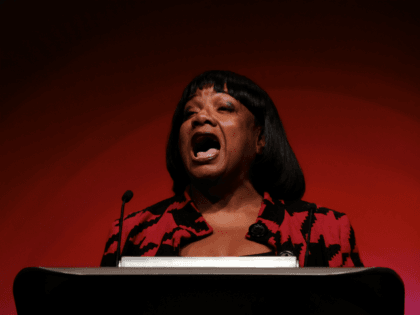 LIVERPOOL, ENGLAND - SEPTEMBER 25: Diane Abbott, Shadow Home Secretary delivers her speech on day three of the Labour Party Conference on September 25, 2018 in Liverpool, England. The four-day annual Labour Party Conference takes place at the Arena and Convention Centre in Liverpool and is expected to attract thousands …
