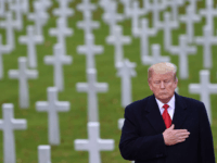 TOPSHOT - US President Donald Trump takes part in a US ceremony at the American Cemetery of Suresnes, outside Paris, on November 11, 2018 as part of Veterans Day and commemorations marking the 100th anniversary of the 11 November 1918 armistice, ending World War I. (Photo by SAUL LOEB / …