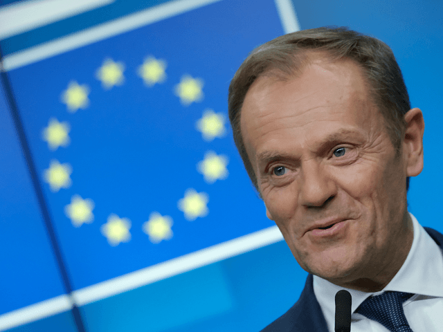 BRUSSELS BELGIUM- MARCH 21 European Council President Donald Tusk speaks to the media at the end of the first of a two-day summit of European Union leaders