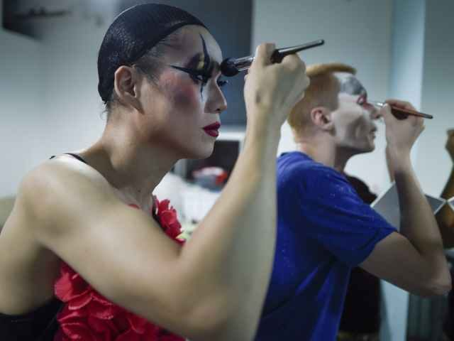 Drag Queens putting on makeup