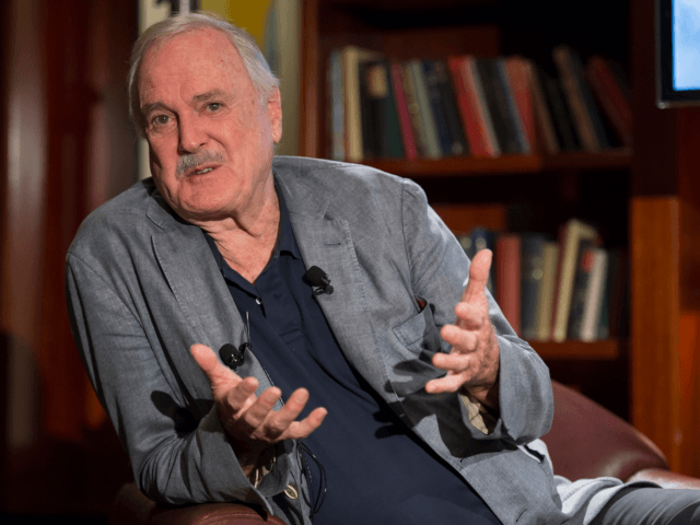 In this handout photo, Fawlty Towers creator and co-writer, John Cleese, introduced the media to Stephen Hall, who will play the role of Basil Fawlty and Blazey Best as Sybil Fawlty in the world premiere tour of Fawlty Towers-Live on stage at Park Hyatt Hotel on March 21, 2016 in …