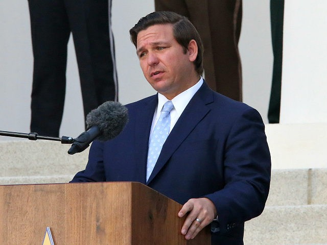 Florida Gov. Ron DeSantis speaks at a law enforcement memorial service at the Capitol Monday April 29, 2019, in Tallahassee, Fla. (AP Photo/Steve Cannon)